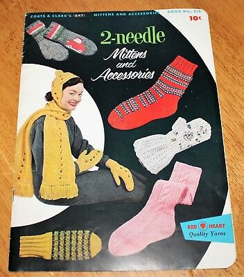 2-NEEDLE MITTENS & ACCESSORIES Knitting Book #316 Coats & Clarks Vintage Guc
