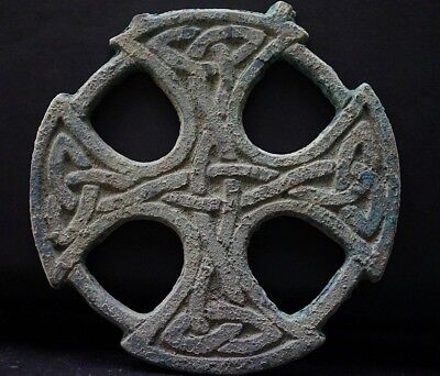 Ancient Viking LARGE Bronze Cross Amulet with depicted Norse Knot, c 950-1000 Ad
