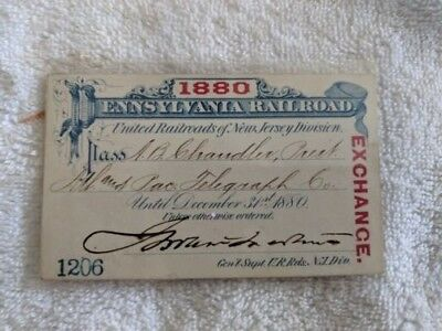 1880 Pennsylvania Railroad Pass ~ Lincoln and Stanton connection  Rare ~ Ex Cond