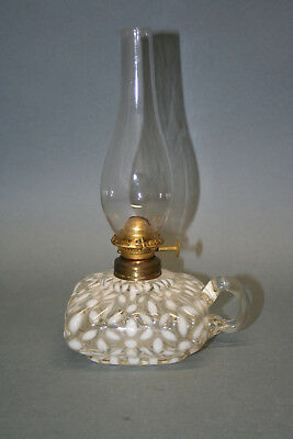 Antique Hobbs Opalescent Snowflake Mini Oil Finger Lamp - SI-40
