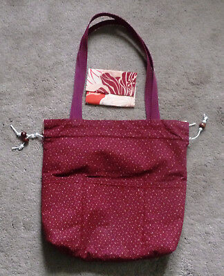 HAND SEWN CARRY PURSE BAG maroon & Coral leaf  - Reversible preowned FREE holder