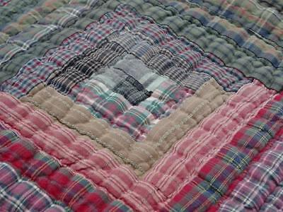 Elegant Country Charm Vintage Country Earth Tones Log Cabin Natural Plaids Quilt