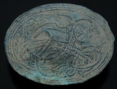 Ancient Viking Large Bronze Amulet. Knot of Norse Beast Serpent, c 950-1000 Ad.