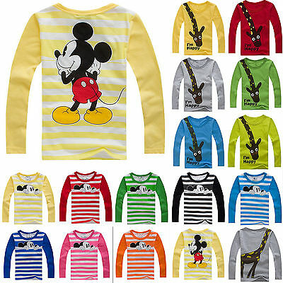 Toddler Kids Girl Boy Cartoon Tops Long Sleeve T Shirt Clothes Outfits 2-8 Years