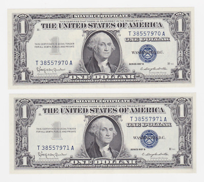 Usa ,$ 1.1  ,1957, Legal Tender .  2 Pcs  , Consultive Pair