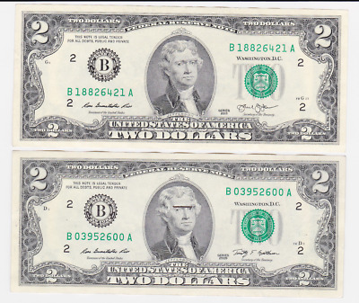 Usa ,$ 2,2  ,2009,2013, Legal Tender .2Pcs  , Collectable Item ,  See Scan