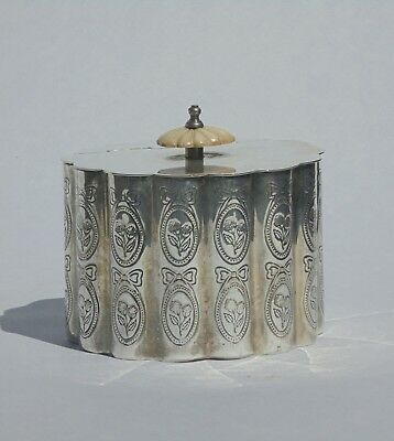 Antique Edwardian 'royal Queen' Sheffield Silver Plated Tea Caddy