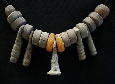 Ancient Viking Necklace made of Ancient Bronze & Glass Bead Amulets, 950-1000 Ad