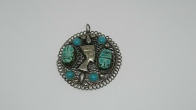 Egyption turquoise carved scarab beetle pendant