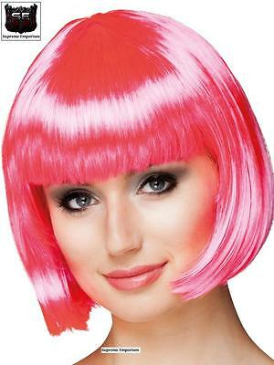 Grease 50s Pink Ladies Short Bob Wig Synthetic Deluxe Fancy Dress Grease 2 New