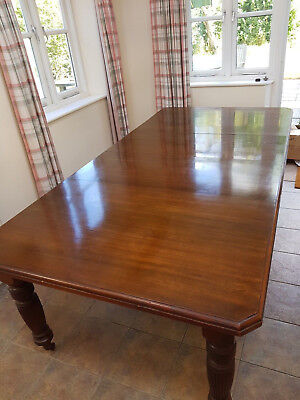 Antique Solid Polished Walnut, Wind Out, Dining Table, 4ft x 8ft (max)