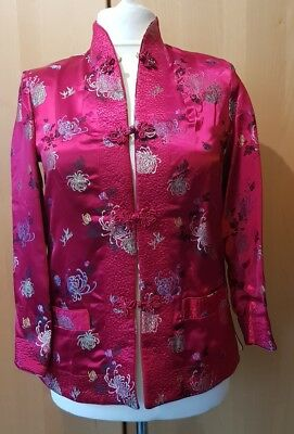 Handmade Vintage Silk Reversible Oriental Style Jacket Chinese red and gold sz M