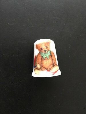 Teddy Bear With Books Porcelain Thimble by Stoke on Trent England