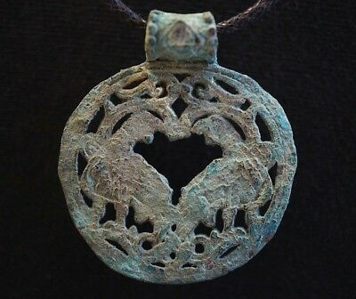 Ancient Viking Bronze Amulet depicting Two Birds in Norse Knot, c 950-1000 Ad.