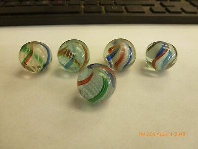 Group of 5 Antique German Handmade Latticino and Divided Core Marbles #4