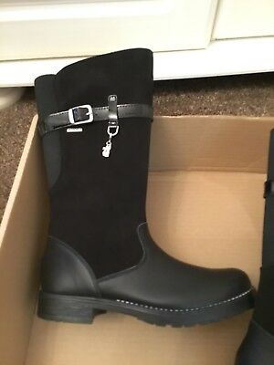 BNWT Gorgeous Pair Of Girls Black Start-rite Water Resistant Knee High Boots 13F