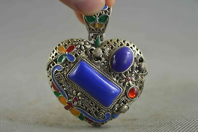 Collection Handwork Decor Old Miao Silver Carve Flower Inlay Agate Lucky Pendant