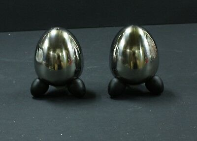 Stainless Steel Salt & Pepper Shakers Pots. Retro Egg shaped space age. Vintage