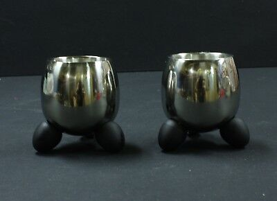 Pair of Stainless Steel Egg Cups. 2 Retro Egg shaped space age. Vintage Kitchen