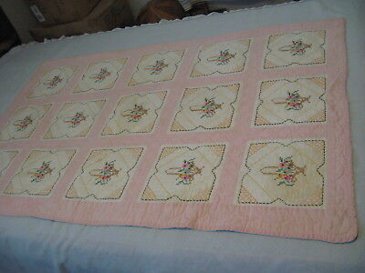 "Handmade Embroidered Baby Quilt 33"" x 52"""