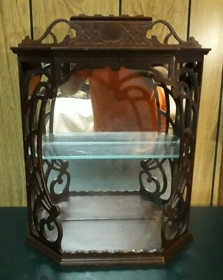 Vintage Antique Wood Glass Mirrored Butler Furniture Curio Display Cabinet