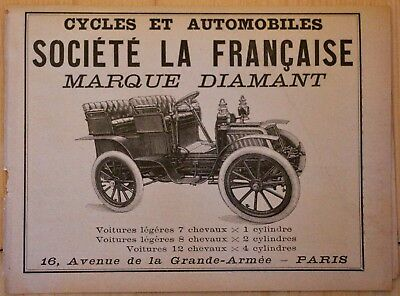 Publicite Ancienne Automobile Societe La Francaise