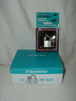Box of 12 Master Laminated Keyed Padlock No. 10D NIB