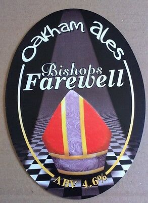 Beer pump badge clip OAKHAM brewery BISHOPS FAREWELL real ale pumpclip front