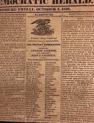 Presidential Election 1828 Election Ticket/ballot Andrew Jackson Newspaper