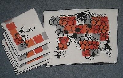 Vintage Vera Orange and Gray Grapes Place mats and Napkins Set of 4 Mid-Century