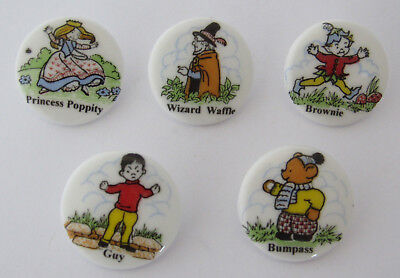 Rare Set Of 5 Adorable, Whimsical, Novelty Porcelain Buttons By Birchcroft
