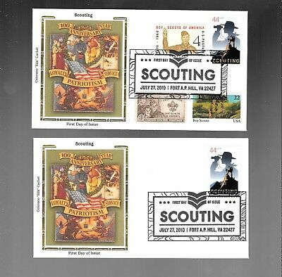 Us Fdc  # 4472 Scouting Boy Scouts  2010  Colorano Silk  Lot Of 2