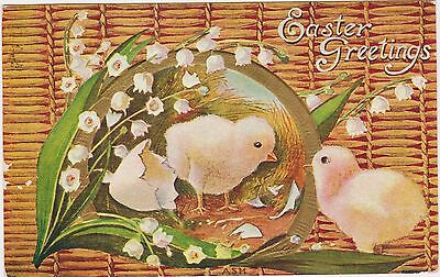 "Rare Posted Divided Back Embossed Easter Chicks Postcard ""easter Greetings"" Nice"
