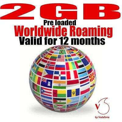 Vodafone World Internet Sim card-Pre loaded 2GB Roaming Data for 142 countries
