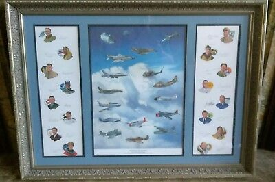 Gathering of Eagles Famous Autographed Lithograph Astronaut WW2 Pilots USAF 2002