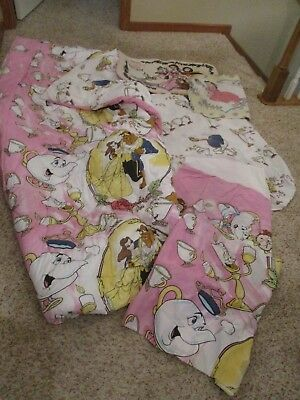 VTG 90's Disney's Beauty And The Beast Reversible Twin Comforter Sheets Rug Set