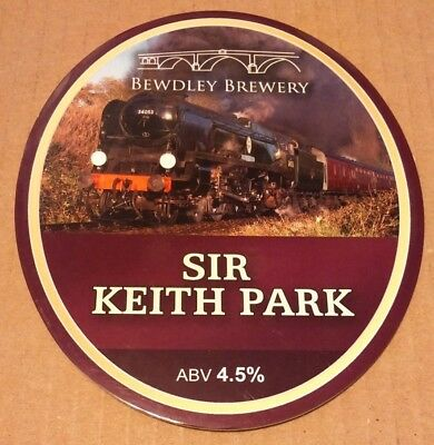Beer pump clip badge front BEWDLEY brewery SIR KEITH PARK cask ale 34053 train