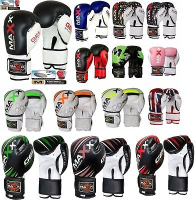 Maxx Boxing Gloves Punch Bag Training MMA Muay Thai KickBoxing Fight Sparring AD