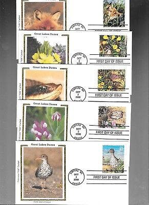 Us Fdc  Great Lake Dunes 2008  Colorano Silk  Set Of 10