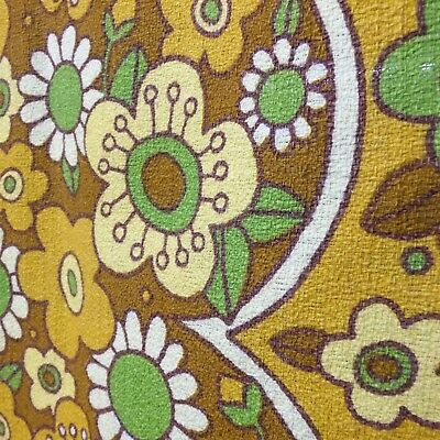 Vintage Retro Bark Cloth Psychedelic Flowers Square Table Cloth