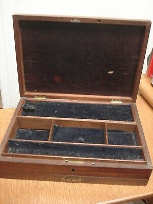 Antique English WOODEN JEWELRY BOX with drawer Working Lock JEWELLERY Wood