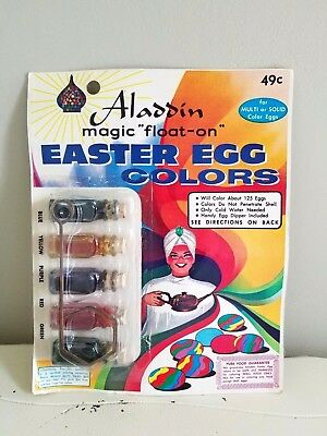 Vintage 1965 ALADDIN Easter Egg Dye Colors Glass Bottles in Factory Package