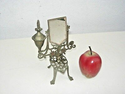 Antique Figural French Vanity with Mirror Dresser Perfume Nickel plated Brass