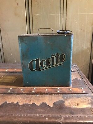 Lata Aceite Antigua Turquesa Tin Oil Coleccion Decorativa Taller Garage Vintage