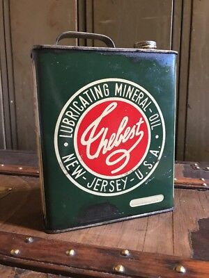 1954 Oil Can Tin Thebest New Jersey U.S.A Lubricating Mineral Rare Collectors