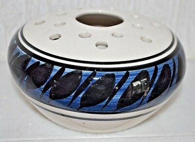 Jersey  Pottery  White /black & Blue Design Posy Bowl