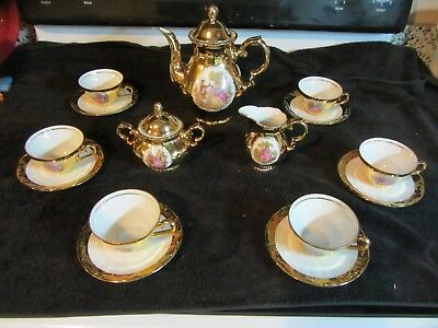 "Gorgeous antique 1926 HWL Bavaria ""Love Story"" Demitasse gold hand-painted set"