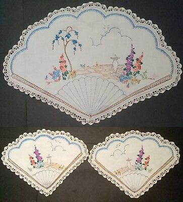 DUCHESS SET EMBROIDERED HOLLYHOCK GARDEN - VINTAGE - Large + Two Small Doillies