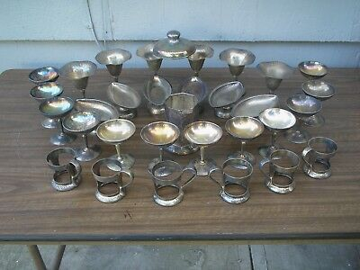 Lot Of Vintage Soda Fountain Items Hammered Nickle Silver