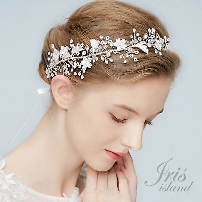Crystal Flower Bridal Vine Headband Headpiece Tiara Wedding Accessory 783 Silver